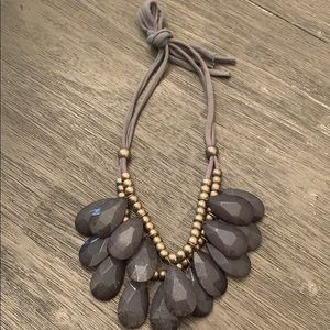 Chunky jeweled gray necklace.
